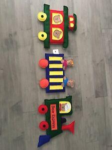 Loveable creations teddy bear train wall art