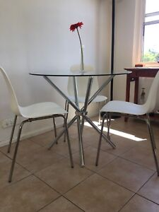 Glass Dining Table with 3 New Chairs