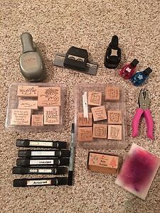 Stampin Up Stamps and accessories, with two boxes, punches,