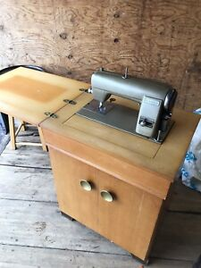1950s Sewing Machine in Wood Desk