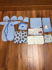 Baby boy blankets and hats