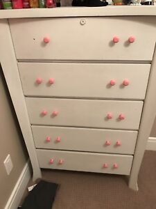 Solid wood dresser painted white
