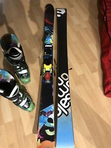 Salomon Suspect twin tip skiis + boots