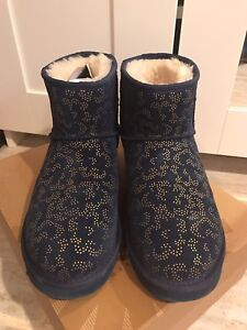 Authentic Ugg Classic mini metallic navy boots