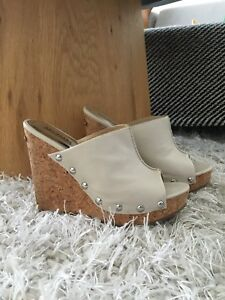 Micheal Kors wedge heels with cream leather