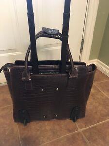 Cabrelli Empire Croco 15.6 Laptop Roller Briefcase