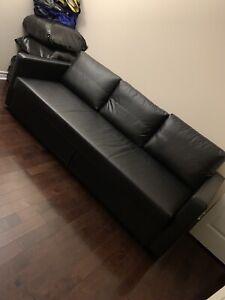 IKEA BLACK LEATHER SOFA BED