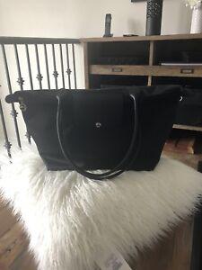 Long champ all black tote bag