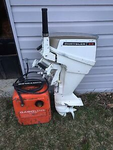 Chrysler 9.9 boat motor with gas can