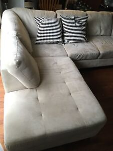Family room beige sectional couch