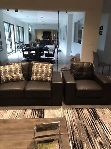 Faux leather couch set