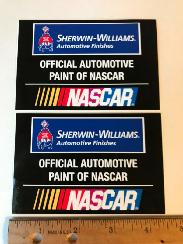 vtg Sherwin Williams Automotive Finishes Official NASCAR Paint decal sticker Lot