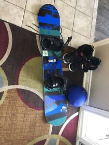 Boys Snowboard, Boots and helmet