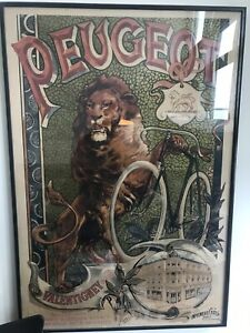 Authentic 1890s Antique Peugeot bicycle poster framed