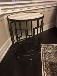 Side table with marble top and copper stand!