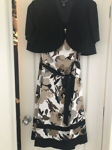 Pretty dress with black balero, and Brown pant suit - Size 16