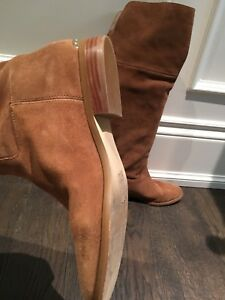 Michael Kors MK 8.5 tan brown suede knee boots flat shoe