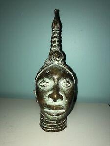 Beautiful Benin Bronze Head of Oba Kingdom 9''- Nigeria