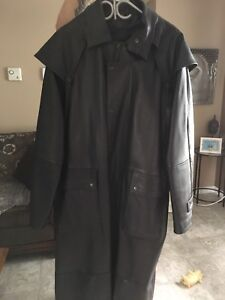 Black leather riding duster
