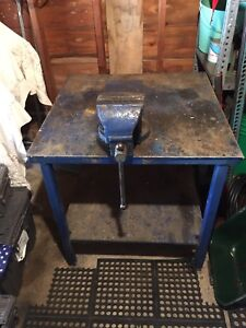 HD shop work bench with vise