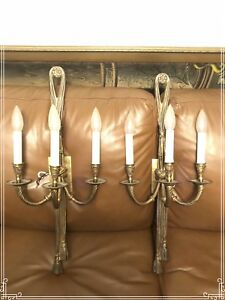 Two brass electrical wall sconces