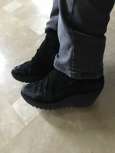 Fly London. Black Suede wedge heel boots size 9