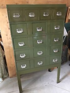 Vintage Metal Card Catalog / File Cabinet
