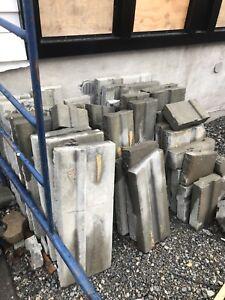 Muret de pavé, bloc de béton