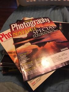 Stack of popular photography magazines