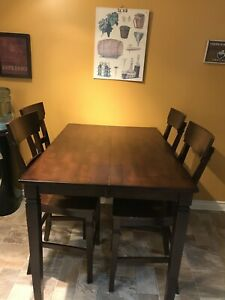 Solid Wood Pub Height Table + Four High Back Chairs
