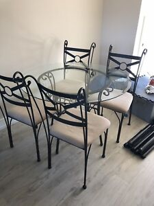 Glass table and 4 chair set $100 OBO