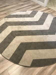 Large round chevron patterned rug