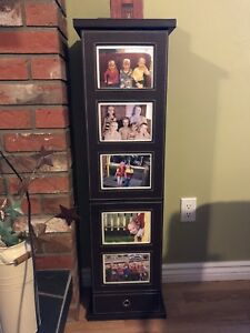 Leather photo tower with storage