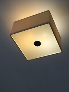 Modern semi flush light fixture w/ silk shade