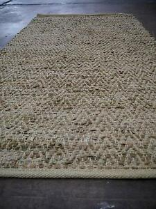 New Graphic Tan Chevron Design Recycled Rustic Leather Weave Rugs Melbourne CBD Melbourne City Preview
