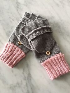 GREY & PINK KNIT GLOVES-BRAND NEW!