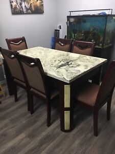 Granite Dining Table with 6 chairs