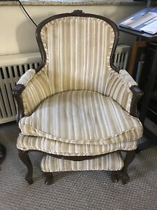 Antique chairs with side table