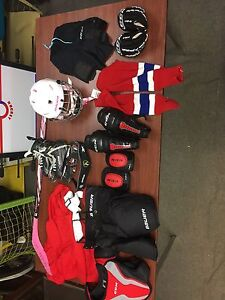 Complete hockey equipment set for a 5 to 6 year old girl