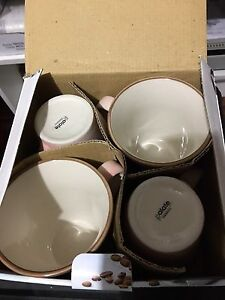 4 pc drinking mug cup set(New in box) + 2x silicone cup lid cover Strathfield Strathfield Area Preview