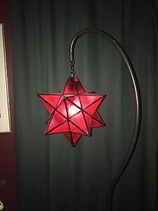 Marrocan style red star floor lamp, the star is fibreglass.