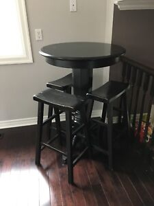 Black wood bar table with 3 stools