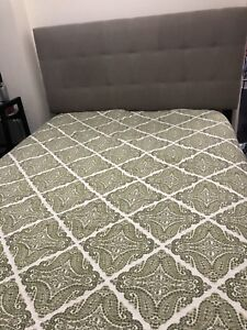 Queen headboard with box spring and frame