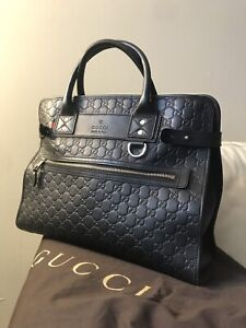 100% Authentic Gucci Black Leather GG Briefcase Business Bag