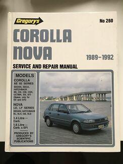 Toyota Corolla Nova Gregory's Service and Repair Manual Lane Cove Lane Cove Area Preview