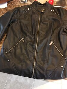 1x leather looking coat from Addition Elle