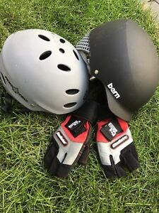 2 Helmets for Water Sports and 1 Set of Gloves ($80 for all)