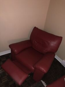 IKEA VRETA Real RED Leather Armchair / recliner