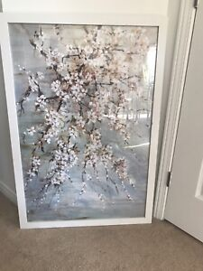 Lovely accent piece! Large floral framed painting