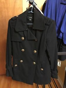 Forever 21 double breasted Gold buttons, Black peacoat in Small